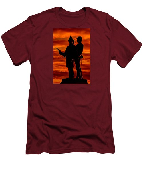 Men's T-Shirt (Slim Fit) featuring the photograph Sky Fire - 73rd Ny Infantry Fourth Excelsior Second Fire Zouaves-b1 Sunrise Autumn Gettysburg by Michael Mazaika