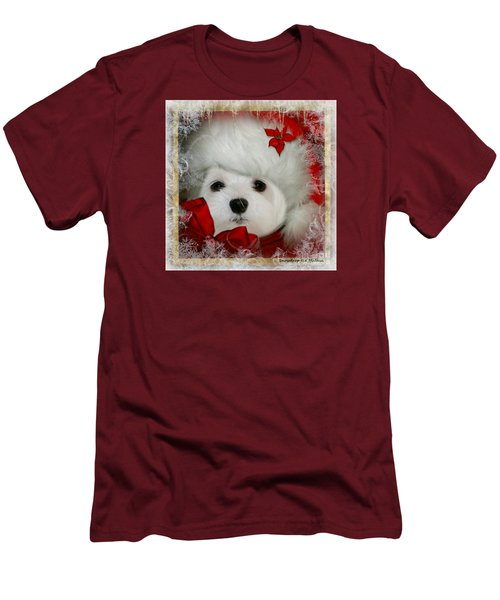 Snowdrop  And  Santa Hat Men's T-Shirt (Slim Fit) by Morag Bates