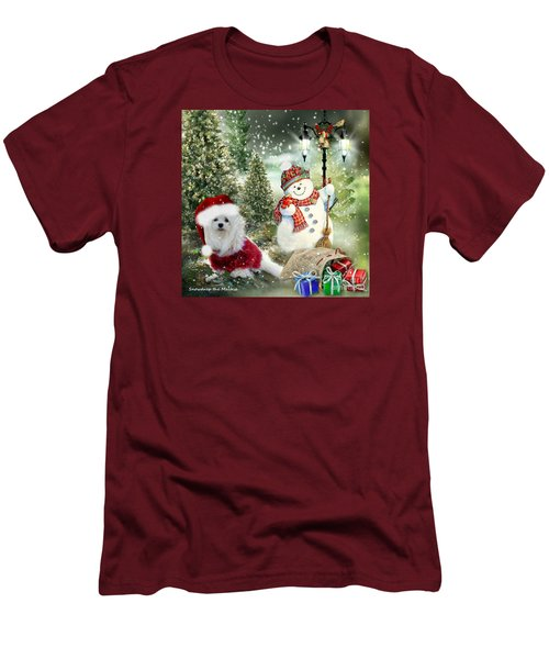 Men's T-Shirt (Slim Fit) featuring the mixed media Snowdrop And The Snowman by Morag Bates
