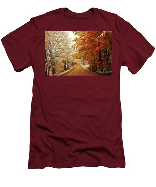 Snowy Autumn Road Men's T-Shirt (Athletic Fit)