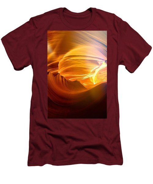 Men's T-Shirt (Slim Fit) featuring the photograph Somewhere In America Series - Gold Colors In Antelope Canyon by Lilia D