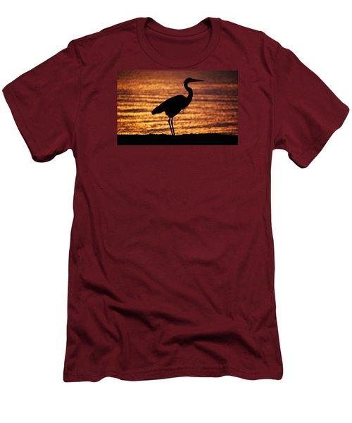 Men's T-Shirt (Slim Fit) featuring the photograph Sunrise Heron by Leticia Latocki