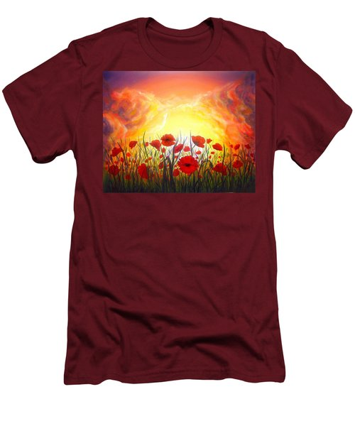Men's T-Shirt (Slim Fit) featuring the painting Sunset Poppies by Lilia D