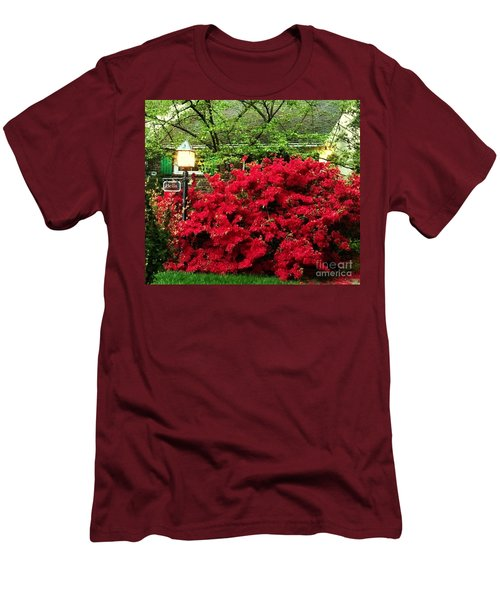 Men's T-Shirt (Slim Fit) featuring the photograph The Light Red Bush Bella by Becky Lupe