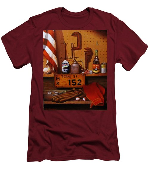 Men's T-Shirt (Slim Fit) featuring the painting The Workshop by Gene Gregory
