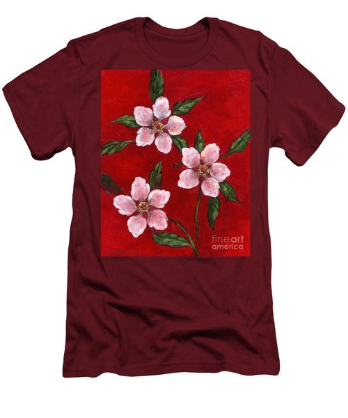 Three Blossoms On Red Men's T-Shirt (Slim Fit)