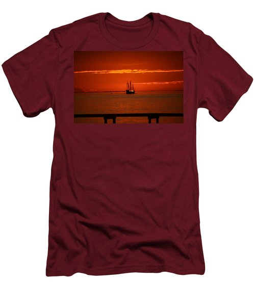 Two 3-masted Schooners Sail Off Into The Santa Rosa Sound Sunset Men's T-Shirt (Slim Fit) by Jeff at JSJ Photography
