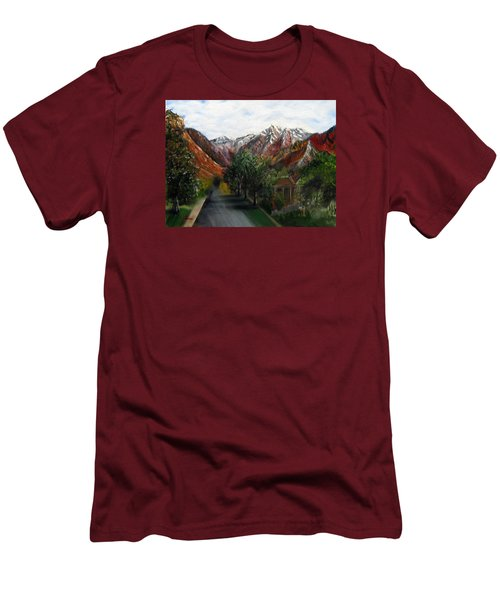 Wasatch Range Looking Up Binford St. Men's T-Shirt (Slim Fit) by LaVonne Hand