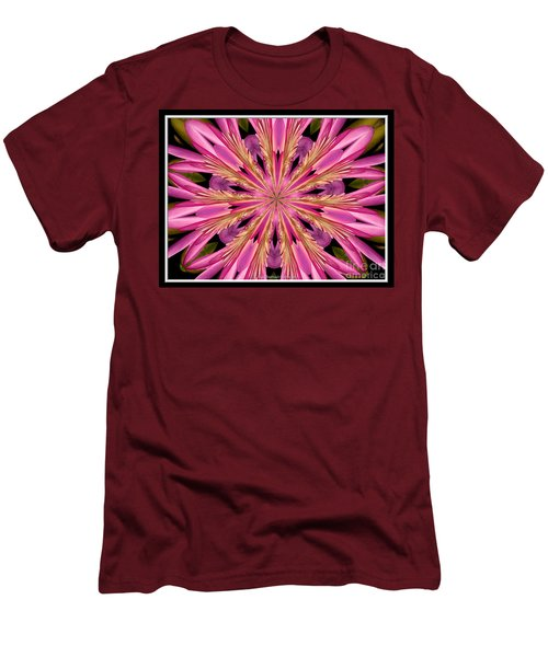 Men's T-Shirt (Slim Fit) featuring the photograph Waterlily Flower Kaleidoscope 4 by Rose Santuci-Sofranko