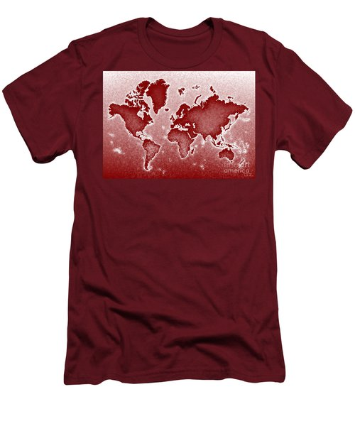 World Map Novo In Red Men's T-Shirt (Slim Fit) by Eleven Corners