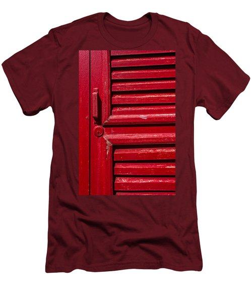 Worn Red Shuttered Door Men's T-Shirt (Slim Fit) by James Hammond