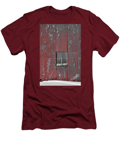 Zink Rd Barn Window Bw Red Men's T-Shirt (Slim Fit) by Daniel Thompson