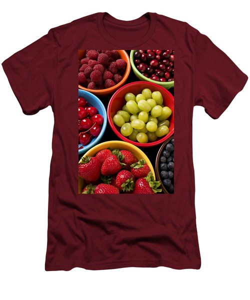Bowls Of Fruit Men's T-Shirt (Slim Fit) by Garry Gay