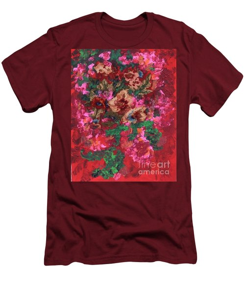 Men's T-Shirt (Slim Fit) featuring the painting My Sister's Garden I by Alys Caviness-Gober
