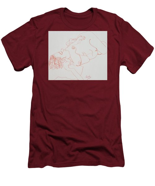 Nude Resting In Red Men's T-Shirt (Slim Fit) by Rand Swift