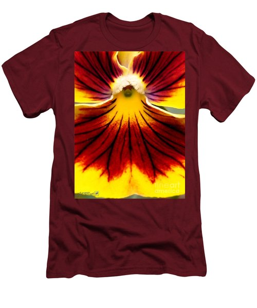 Men's T-Shirt (Slim Fit) featuring the photograph Pansy Named Imperial Gold Princess by J McCombie