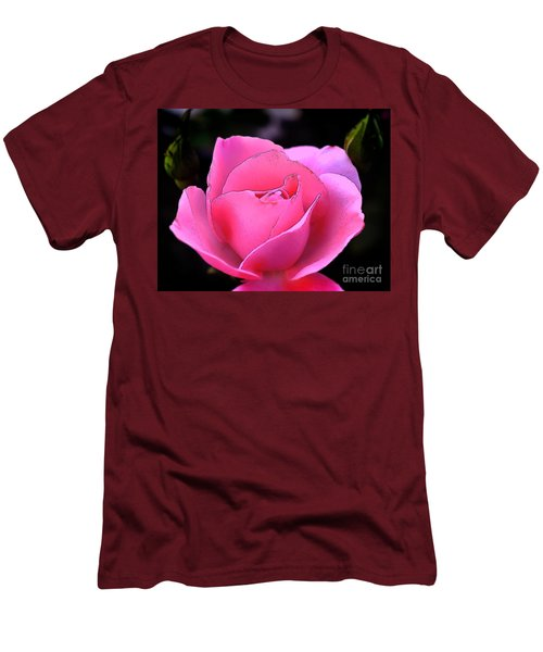 Men's T-Shirt (Slim Fit) featuring the photograph Pink Rose Day by Clayton Bruster