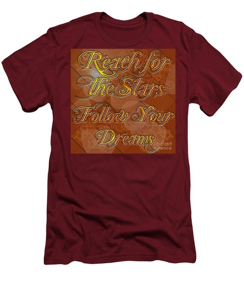 Men's T-Shirt (Slim Fit) featuring the digital art Reach For The Stars Follow Your Dreams by Clayton Bruster