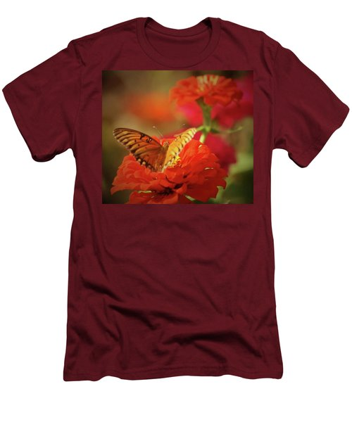 Men's T-Shirt (Slim Fit) featuring the photograph Butterfly And Flower II by Donna G Smith