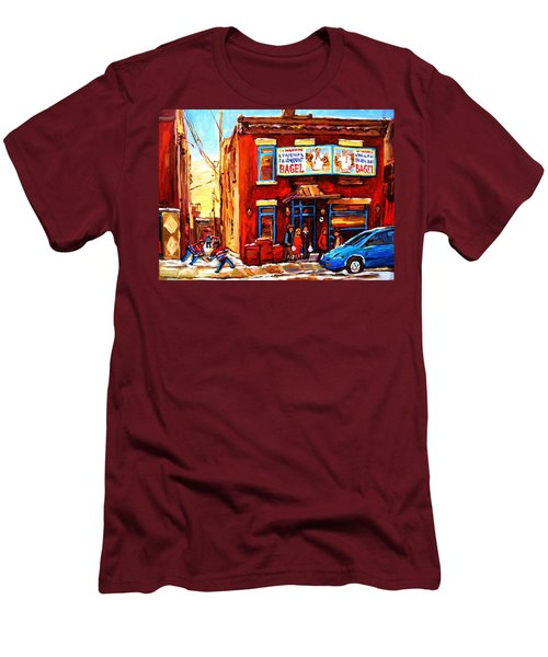 Men's T-Shirt (Slim Fit) featuring the painting Fairmount Bagel In Winter by Carole Spandau