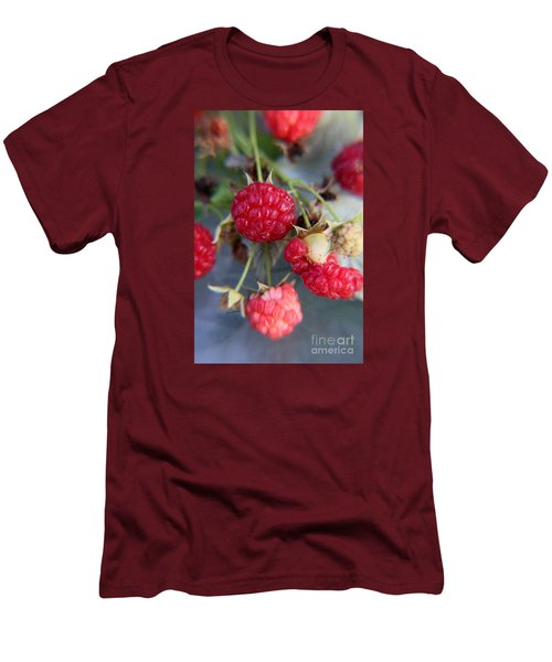 Men's T-Shirt (Slim Fit) featuring the photograph Red Raspberry  by Yumi Johnson