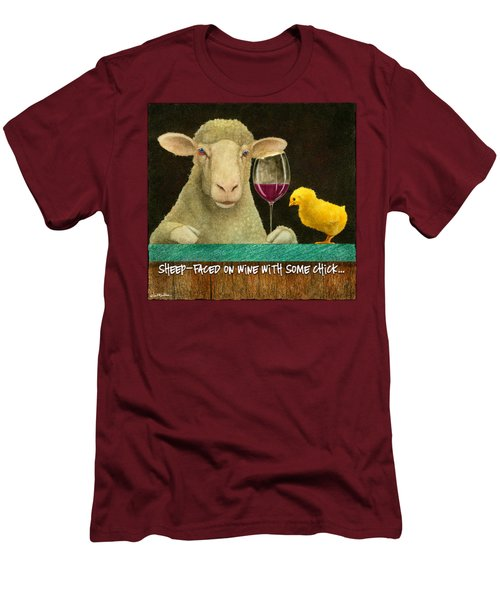 Sheep Faced On Wine With Some Chick... Men's T-Shirt (Slim Fit) by Will Bullas