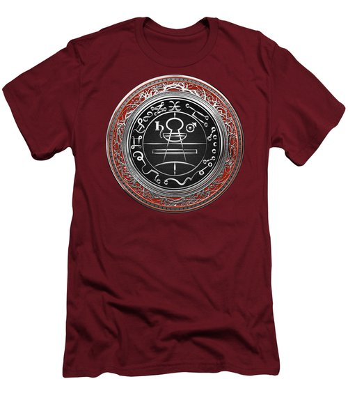 Silver Seal Of Solomon - Lesser Key Of Solomon On Red Velvet  Men's T-Shirt (Athletic Fit)