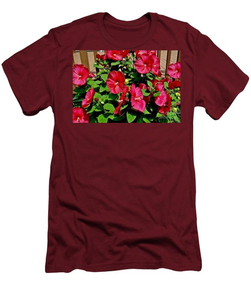 Tropical Red Hibiscus Bush Men's T-Shirt (Athletic Fit)