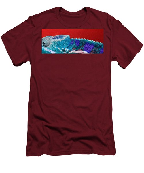 Turquoise Chameleon On Red Men's T-Shirt (Slim Fit) by Serge Averbukh