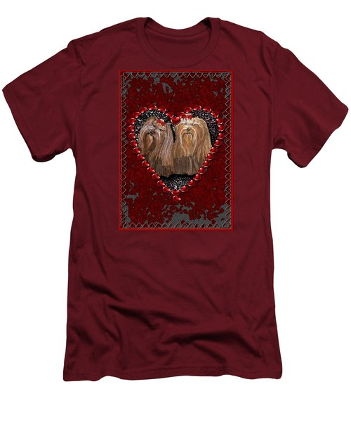 Yorkie Heart Men's T-Shirt (Athletic Fit)