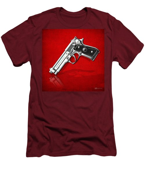Beretta 92fs Inox Over Red Leather  Men's T-Shirt (Slim Fit) by Serge Averbukh
