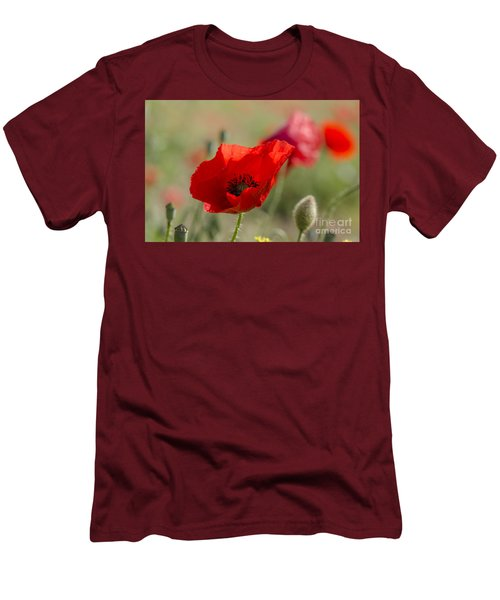 Poppies In Field In Spring Men's T-Shirt (Slim Fit) by Perry Van Munster