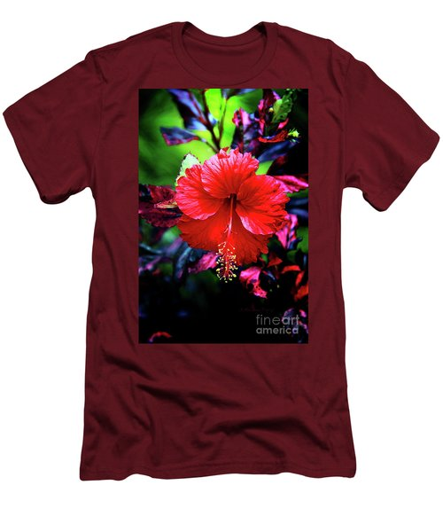 Red Hibiscus 2 Men's T-Shirt (Slim Fit) by Inspirational Photo Creations Audrey Woods