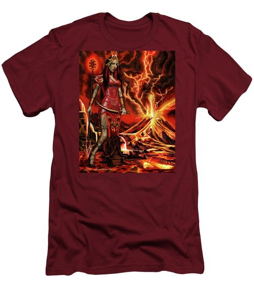 Men's T-Shirt (Slim Fit) featuring the painting The Goodess Pele Of Hawaii by James Christopher Hill