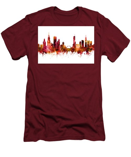 Chicago Illinois Skyline Men's T-Shirt (Athletic Fit)