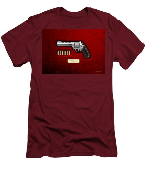 .44 Magnum Colt Anaconda On Red Velvet  Men's T-Shirt (Slim Fit) by Serge Averbukh