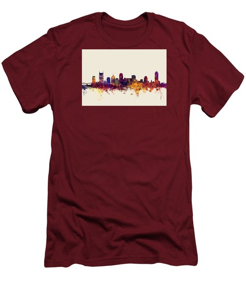 Nashville Tennessee Skyline Men's T-Shirt (Slim Fit) by Michael Tompsett