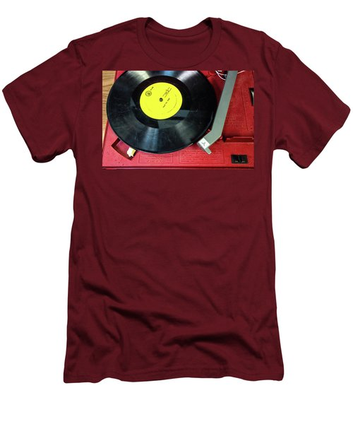 Men's T-Shirt (Athletic Fit) featuring the photograph 8 Rpm Record Player by Gary Slawsky