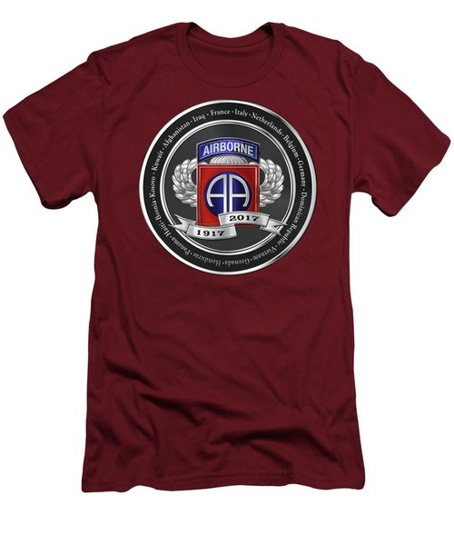 Men's T-Shirt (Slim Fit) featuring the digital art 82nd Airborne Division 100th Anniversary Medallion Over Red Velvet by Serge Averbukh