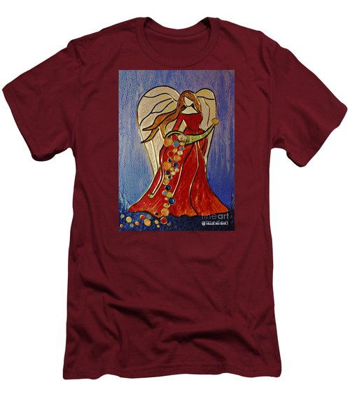 Men's T-Shirt (Slim Fit) featuring the mixed media Abundance Angel by AmaS Art