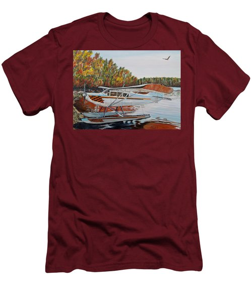 Men's T-Shirt (Slim Fit) featuring the painting Aeronca Super Chief 0290 by Marilyn  McNish