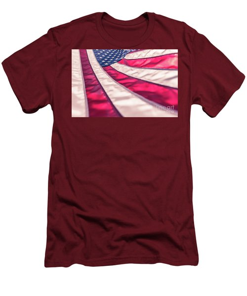 Men's T-Shirt (Athletic Fit) featuring the photograph American Flag In Red White Stripe,stars And Blue Symbolic Of Pat by Jingjits Photography