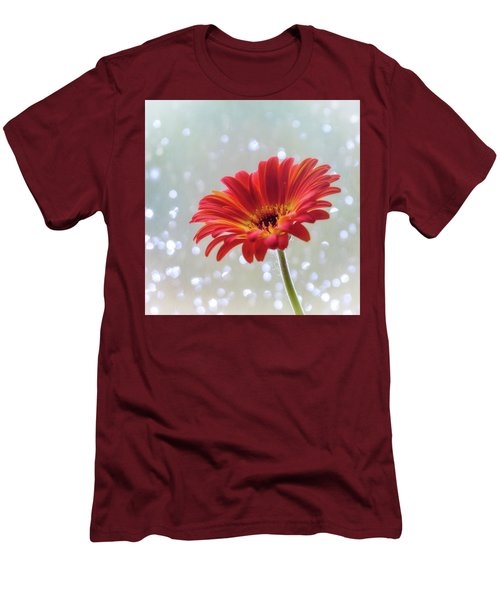 Men's T-Shirt (Slim Fit) featuring the photograph April Showers Gerbera Daisy Square by Terry DeLuco