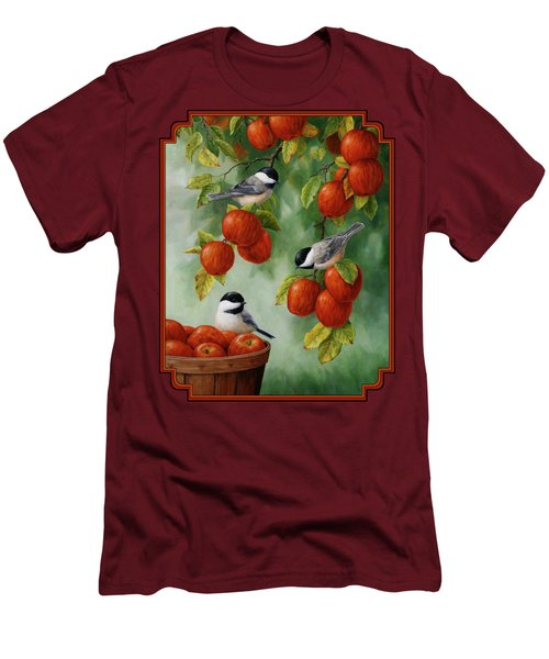 Bird Painting - Apple Harvest Chickadees Men's T-Shirt (Athletic Fit)