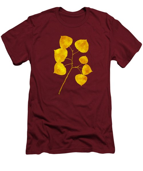 Men's T-Shirt (Slim Fit) featuring the photograph Aspen Tree Leaf Art by Christina Rollo