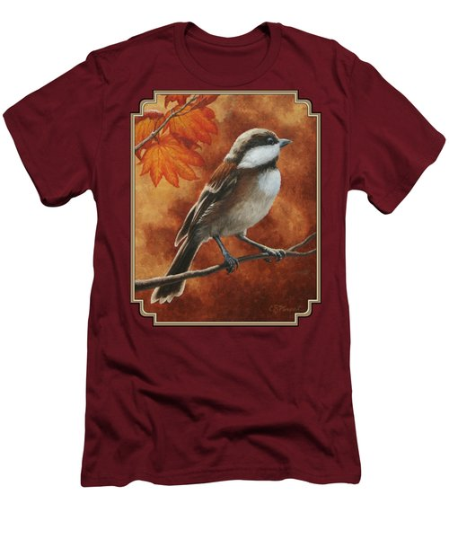 Autumn Chickadee Men's T-Shirt (Slim Fit) by Crista Forest