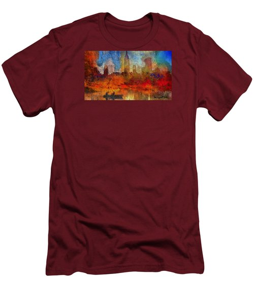 Men's T-Shirt (Slim Fit) featuring the painting Autumn In New York by Ted Azriel