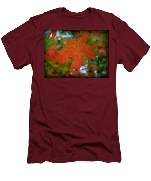 Autumn Leaf In The Rain Men's T-Shirt (Athletic Fit)