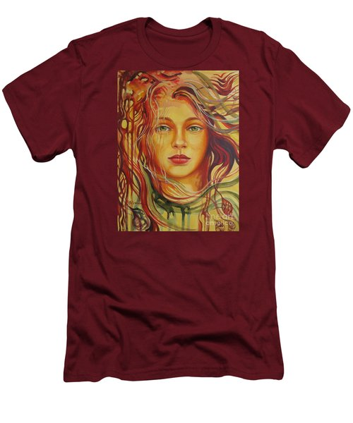Men's T-Shirt (Slim Fit) featuring the painting Autumn Wind 2 by Elena Oleniuc