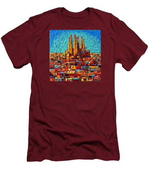 Barcelona Abstract Cityscape - Sagrada Familia Men's T-Shirt (Slim Fit) by Ana Maria Edulescu